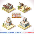 Pueblo tiles set isometric western rural basic mexican buildings d flat vector icon rural building isolated vector collection Royalty Free Stock Images