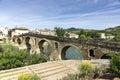 Puente la reina bridge över den arga floden puente lareina navarra spanien Royaltyfri Bild