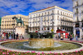 Puerta del sol gate to sun central square madrid spain square statue charles iii can be found as well as several fountains Royalty Free Stock Photo