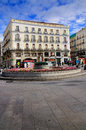 Puerta del sol gate to sun central square madrid spain square statue charles iii can be found as well as several fountains Stock Image