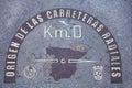Puerta del sol madrid the kilometre zero kilómetro cero on the pavement spain Royalty Free Stock Image