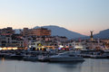 Puerto Banus at dusk. Marbella, Spain Stock Photography