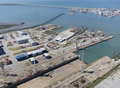 Puerto real shipyard aerial view of cadiz and Royalty Free Stock Photo