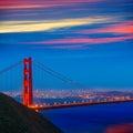 Puesta del sol california de san francisco golden gate bridge Imágenes de archivo libres de regalías