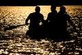 Puesta del sol de la balsa salvavidas Foto de archivo