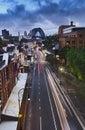 Puesta del sol de sydney rocks bridge vertical Imágenes de archivo libres de regalías