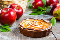 Puff apple shaped roses pie Royalty Free Stock Photo