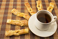 Puff cookies are served to tea in the form of beams Royalty Free Stock Images