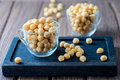 Puff croutons, small pastry balls, soup additive Royalty Free Stock Photo
