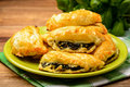 Puff pastries with spinach and cheese. Royalty Free Stock Photo