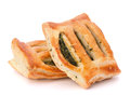Puff pastry bun isolated on white background healthy patty with spinach Royalty Free Stock Photo
