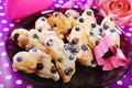 Puff pastry cookies with blueberry in butterfly shape shaped for children Stock Photos