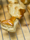 Puff pastry cooling on wire rack Royalty Free Stock Photo