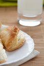 Puff pastry and glass milk Royalty Free Stock Images