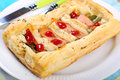 Puff pastry pie with asparagus and salmon stuffed green Stock Images