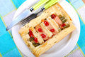 Puff pastry pie with asparagus and salmon stuffed green Royalty Free Stock Photography
