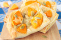 Puff pastry pumpkin garlic seeds cheese board Royalty Free Stock Photography