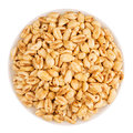 Puffed air rice wheat in bowl, top view, isolated on white background.