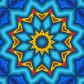 Puffed blue star flower mandala Royalty Free Stock Photo