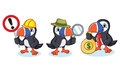 Puffin Mascot Vector with money Royalty Free Stock Photo