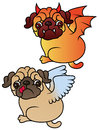 Pug cute puppies angel and demon vector cartoon illustration dog on white background Royalty Free Stock Photography