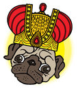 Pug cute puppy in the crown vector cartoon illustration dog on white background Royalty Free Stock Photos