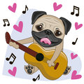 Pug Dog with guitar
