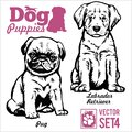 Pug and Labrador Retriever - Dog Puppies. Vector set. Funny dogs puppy pet characters different breads doggy Royalty Free Stock Photo