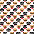 Pugs pattern vector illustration card freehand drawing Royalty Free Stock Photography
