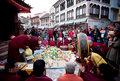 Puja ceremony at the Boudhanath stupa in Kathmandu Stock Photography