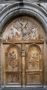 Pujili church door intricately carved wooden of the the th oldest in ecuador Royalty Free Stock Photo