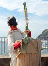 Pulcinella typical neapolitan folkloric personage near the sea Royalty Free Stock Photography