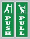 Pull push door sign.Open door board vector