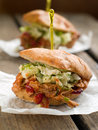 Pulled pork sandwich with coleslaw selective focus Stock Photography