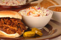 Pulled pork sandwich plate Stock Images