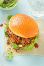 Pulled pork sweet bun with mixed lettuce leaves Royalty Free Stock Photo