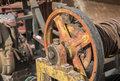 Pulley and belt old belta as a background Royalty Free Stock Photo
