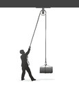 Pulley figure lifting a heavy load with a Royalty Free Stock Photography
