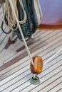Pulley and rope on old sailing ship Royalty Free Stock Photo