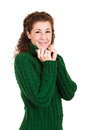 Pullover woman with green warm winter isolated Stock Image