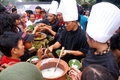 Pulp people queued up to get a free in the promotion of traditional food in the city of solo central java indonesia Royalty Free Stock Image
