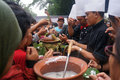 Pulp people queued up to get a free in the promotion of traditional food in the city of solo central java indonesia Stock Image
