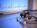Pulse stethoscope in front of the heartbeat monitor Royalty Free Stock Image