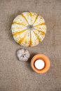 Pumkin autumn decoration fall background border Stock Photography