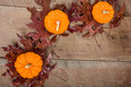 Pumkins and fall leaves for decoration pumpkins in a decorative display Stock Images