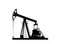 Pump jack silhouette isolated on white background Stock Image