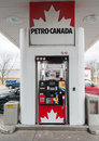 Pump in petro canada gas station toronto april gasoline is a retail and wholesale marketing brand of suncor energy until it Stock Photos