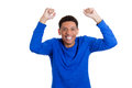 A pumped up, excited happy energetic man Royalty Free Stock Photo