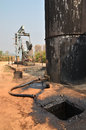 Pumpjack pumping crude oil from oil well old Stock Image