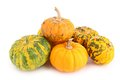 Pumpkin assortment of on white Royalty Free Stock Photo
